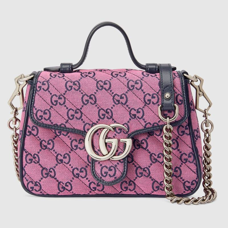 Gucci GG Marmont Multicolor mini top handle bag 583571 Pink and blue