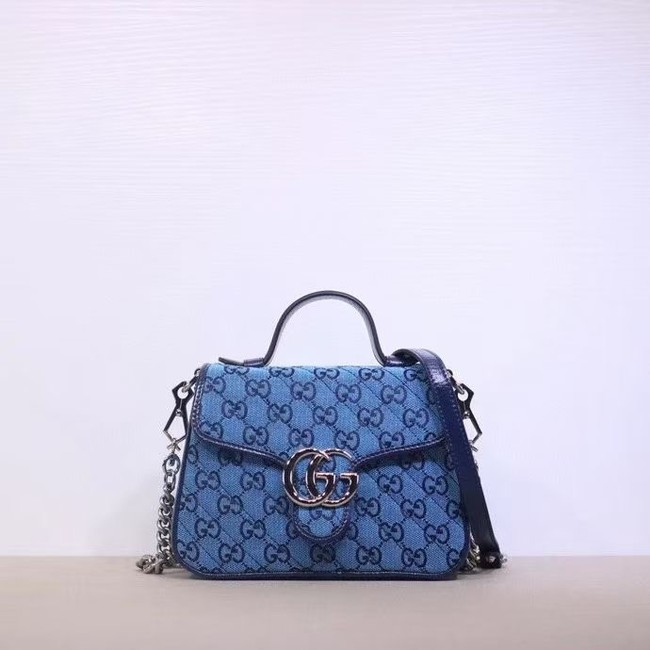 Gucci GG Marmont Multicolor mini top handle bag 583571 blue