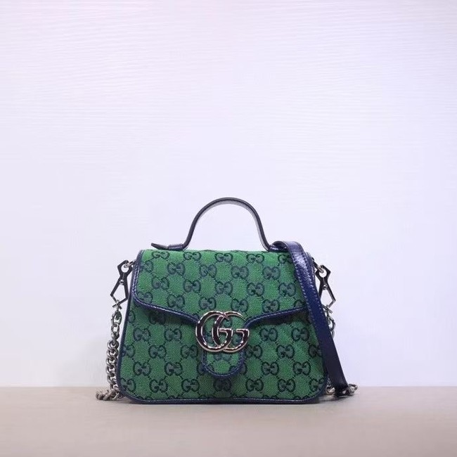 Gucci GG Marmont Multicolor mini top handle bag 583571 green