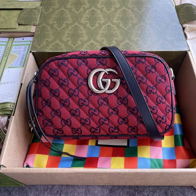 Gucci GG Marmont Multicolor small shoulder bag 447632 red