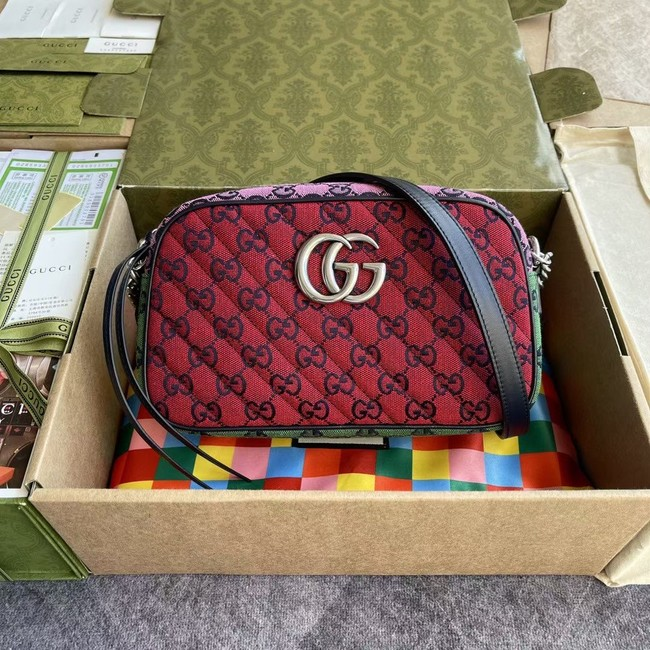 Gucci GG Marmont Multicolor small shoulder bag 447632 red&yellow&green& powder
