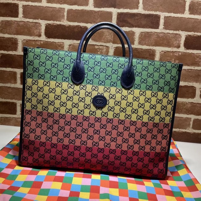 Gucci GG shopping bag 659980 Green&yellow&red& powder