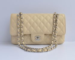 Chanel 2.55 Quilted Flap Bag 1112 Beige with Silver Hardware
