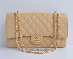 Chanel Classic 2.55 Series Apricot Caviar Golden Chain Quilted Flap Bag 1113
