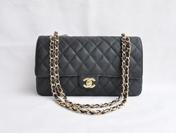 Chanel Classic 2.55 Series Black Caviar Golden Chain Quilted Flap Bag 1113