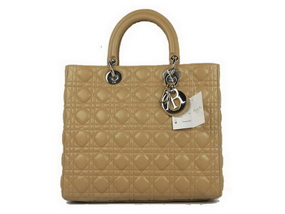 Christian Dior Lambskin Bags Large Lady Dior Bag CAL44561 Beige Silver