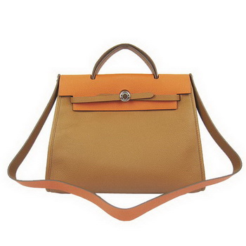 Hermes HerBag 33CM Togo Leather Bag Brown&Orange