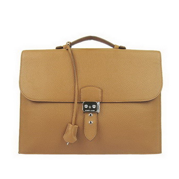 Hermes Sac Depeche 38cm Briefcase Clemence Camel