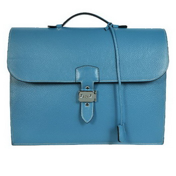 Hermes Sac Depeche 38cm Briefcase Clemence Blue