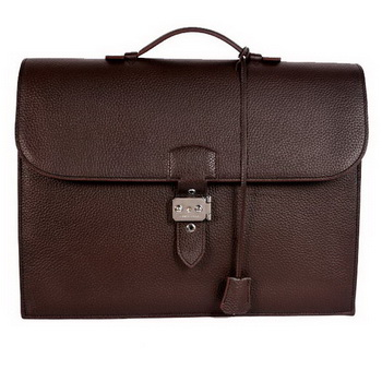 Hermes Sac Depeche 38cm Briefcase Clemence Brown