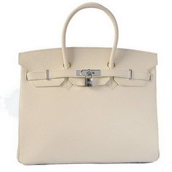 Hermes Birkin 35CM Tote Bags Togo Leather Beige Silver