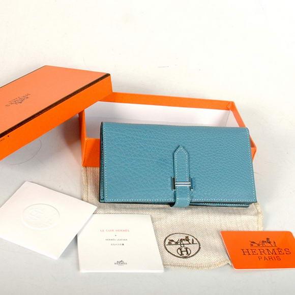 Hermes Bearn Japonaise Original Leather Wallet H8022 Blue