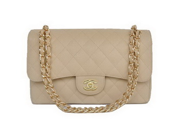 Chanel Jumbo Quilted Classic Cannage Patterns Flap Bag A58600 Apricot Gold