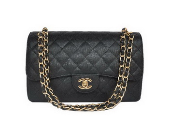 Chanel Jumbo Quilted Classic Cannage Patterns Flap Bag A58600 Black Gold