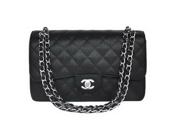 Chanel Jumbo Quilted Classic Cannage Patterns Flap Bag A58600 Black Silver