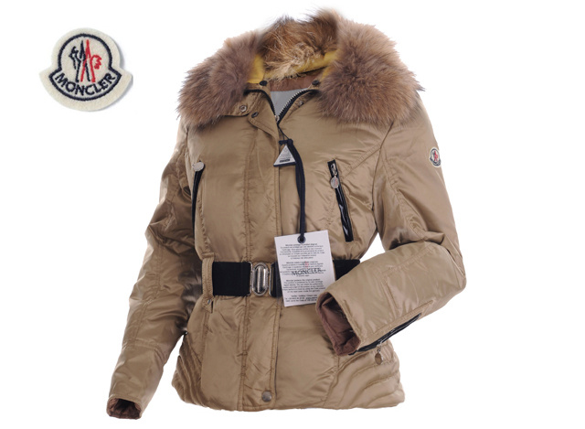 Moncler Womens Down Jacket Fine Hair Collar Coffee