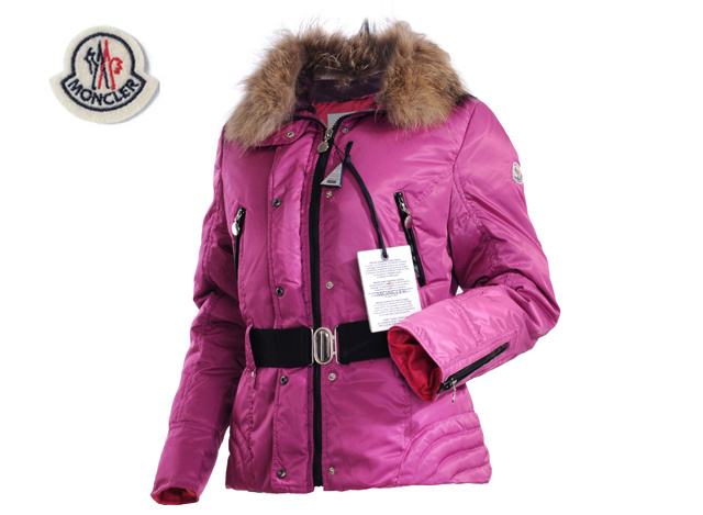 Moncler Womens Down Jacket Fine Hair Collar Pink